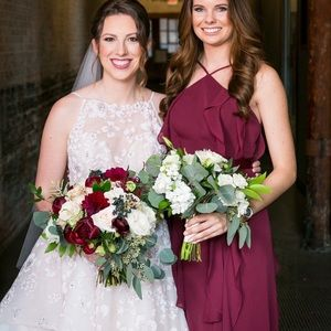 Bridesmaid wine Vera wang dress chiffon